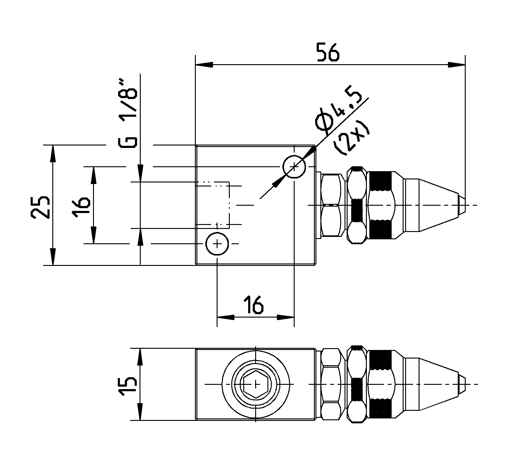 Dimesions of two-fluid jet-nozzle LMD 1/8