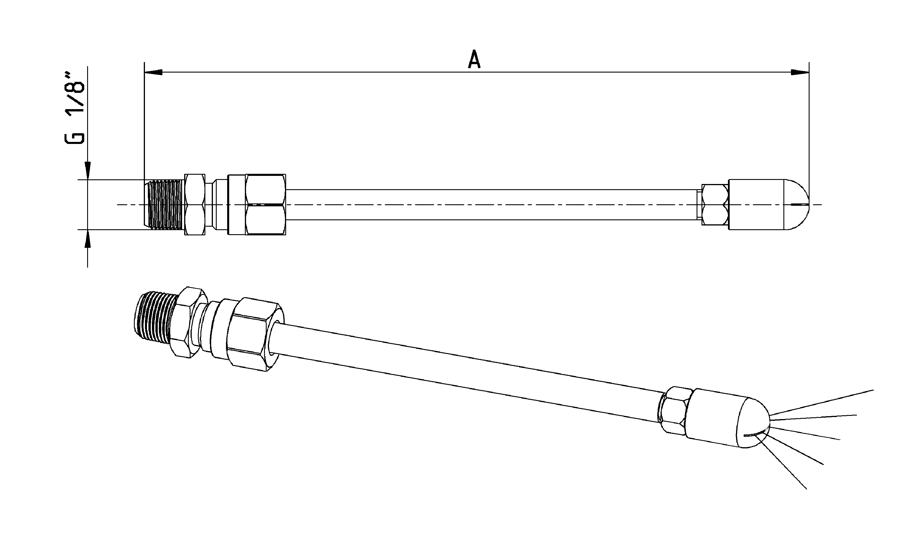 flat-spray-nozzel with copper tube dimensions