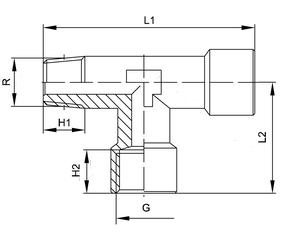 Off-set male tee hydraulic pneumatic fitting