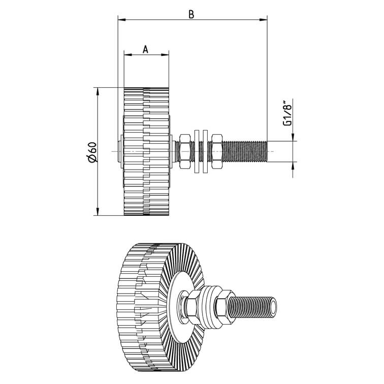 dimensions of Roller Lubrication brush