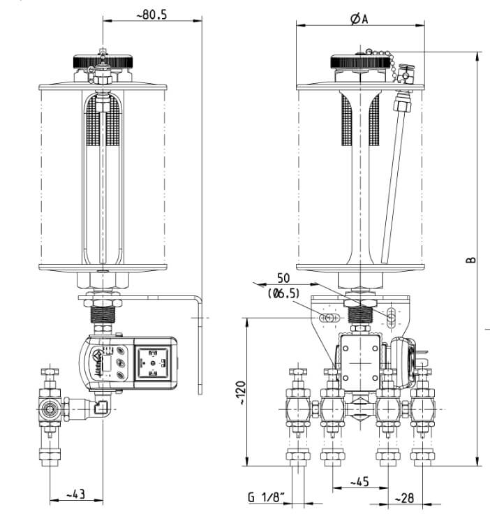 Dimensions of Drip Feed Oiler