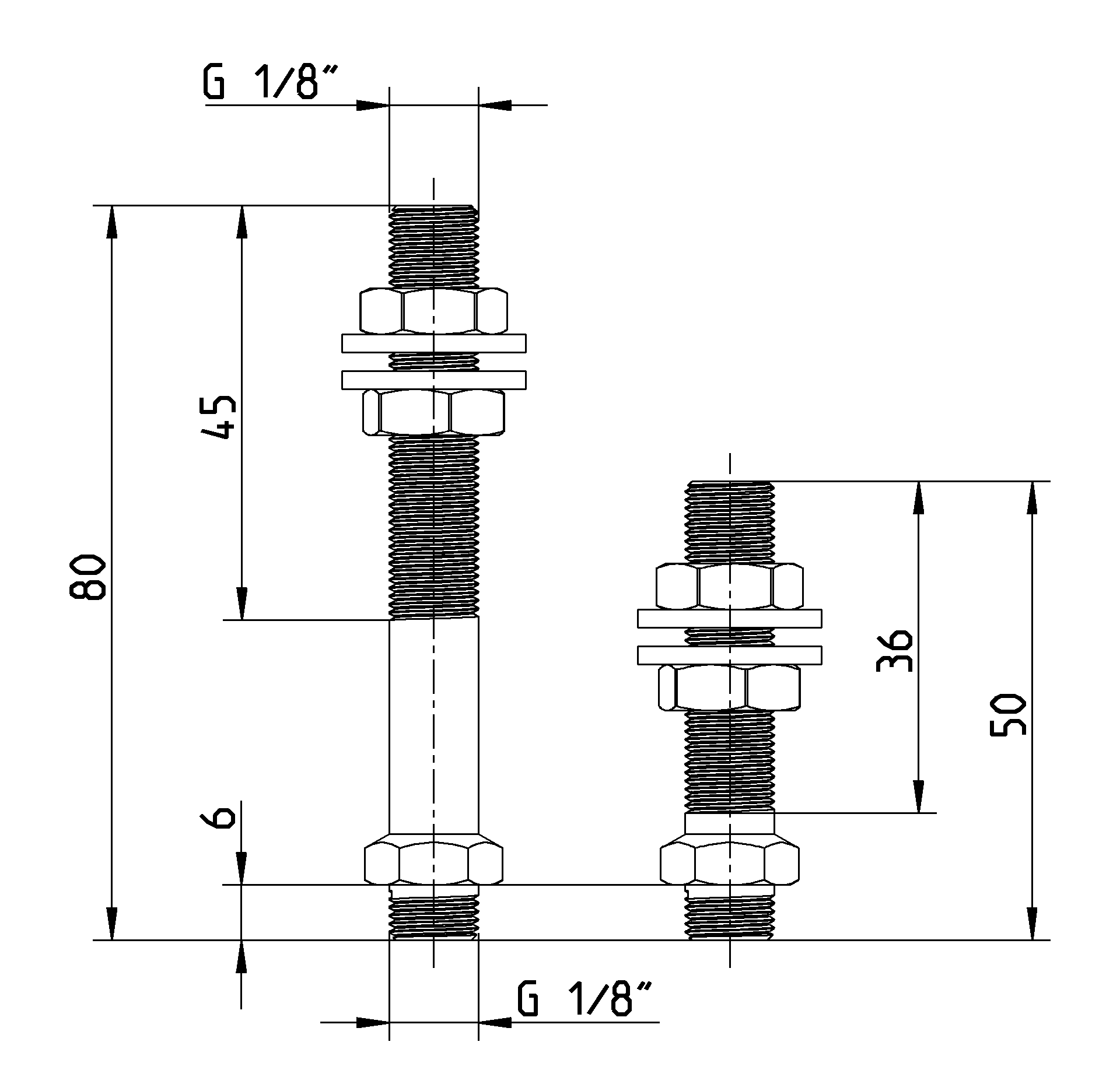 dimensions of mounting screw connection