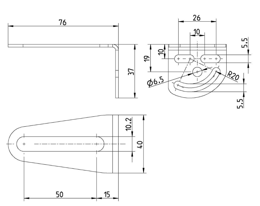 Einbaumaße für Pinselhalter oder Universal-Montagewinkel