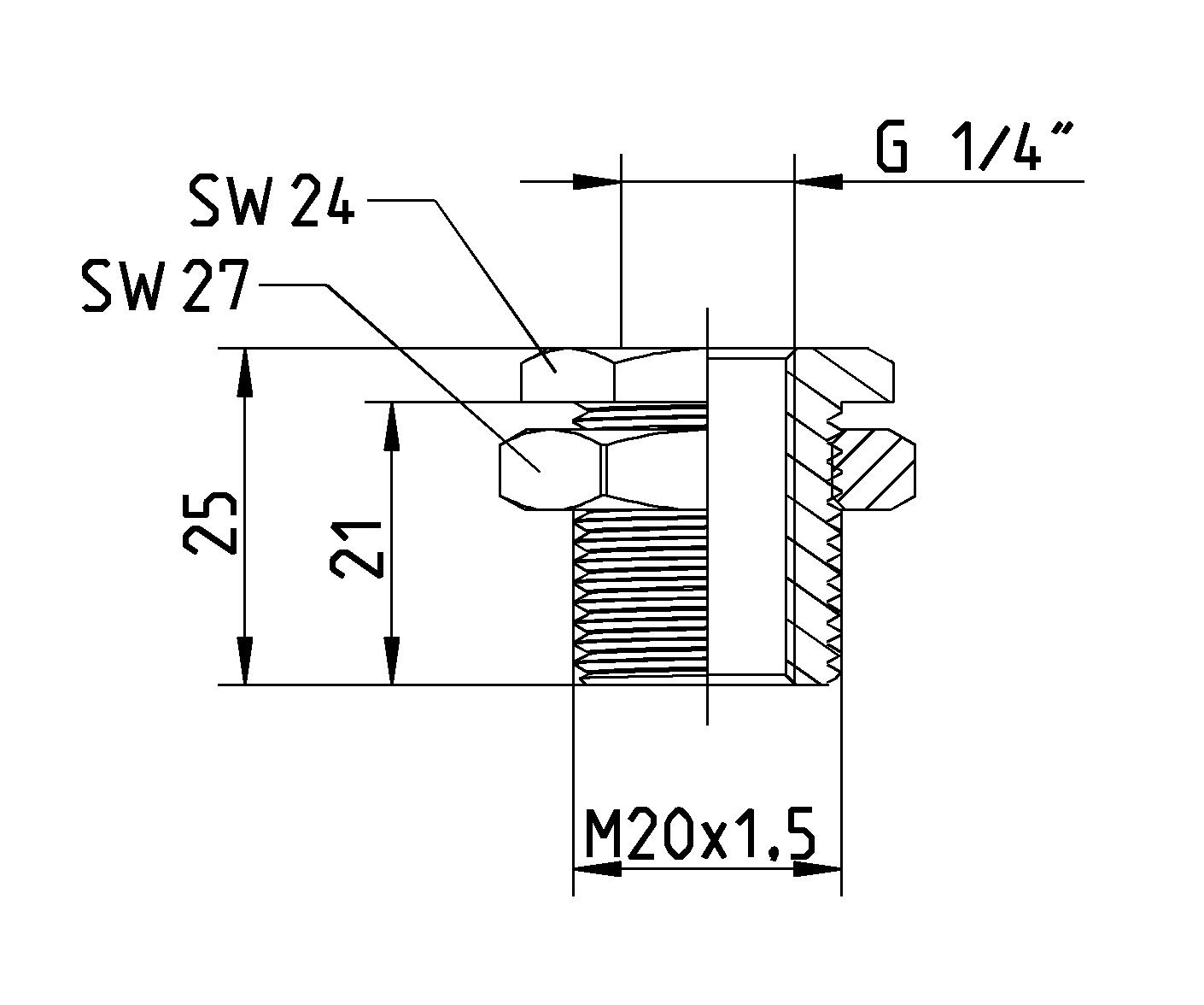 Maße Schottverschraubung für Montagewinkel