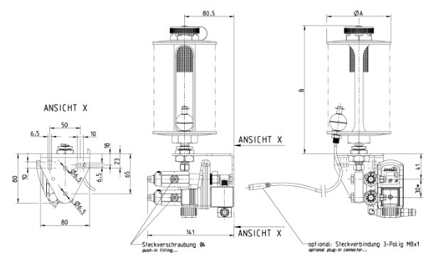Dimensions of variable Piston-MeteringPump DPV