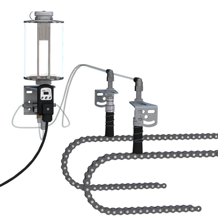 Dose-Oiler or Metering-Pump for Chain Lubrication