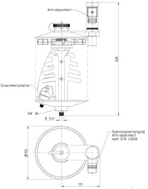 Ölbehälter mit Rührwerk Zeichnung