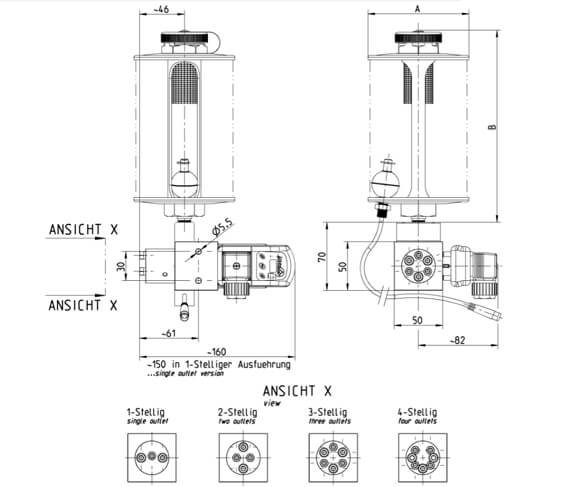 Dimensions of the piston Oil pump for Lubrication