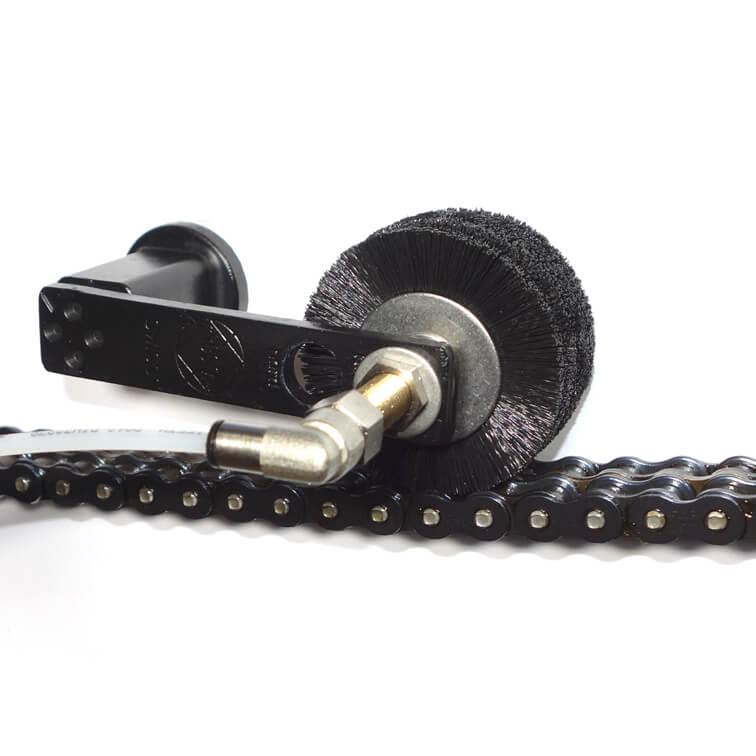 Rollen-Schmierbürste für verschiedene Kettenbreiten wie bei Duplexketten