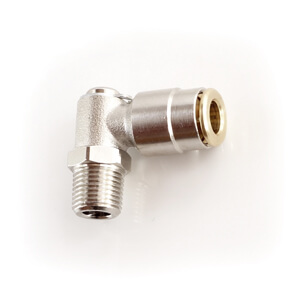 Angled high pressure push-in connector for grease