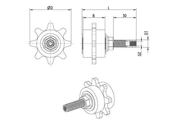 Dimensions du pignon de chaîne à axe droit